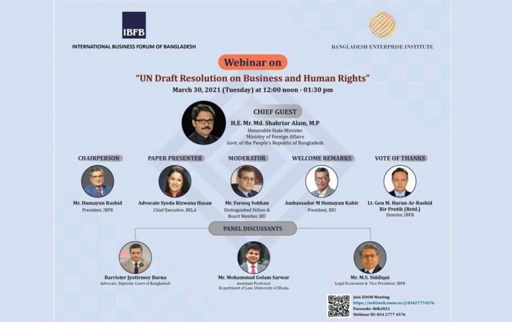Webinar on the UN Draft Resolution on Business and Human Rights, The Daily Star, April 06, 2021