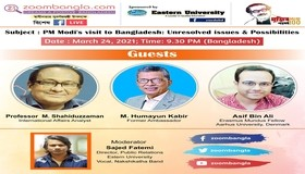 BEI President Amb. M Humayun Kabir spoke on PM Modi's Visit to Bangladesh: Unresolved issues and Possibilities in a virtual seminar on 24 March 2021