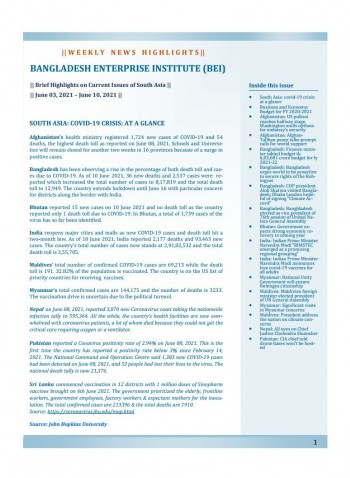 BEI Weekly News Highlights: Brief Highlights on Current Issues of South Asia, June 03, 2021-June 10, 2021