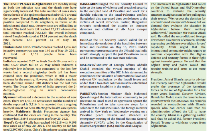 BEI Weekly News Highlights: A Brief Highlights on Contemporary Issues of South Asia, May 14, 2021-May 20, 2021