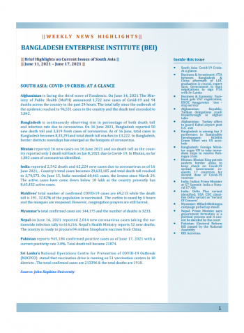 BEI Weekly News Highlights: Brief Highlights on Current Issues of South Asia, June 11, 2021-June 17, 2021