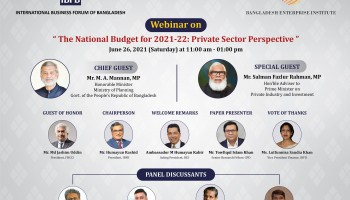 """IBFB-BEI webinar on """"The National Budget for 2021-22: Private Sector Perspective"""",  Saturday, 26 June, 2021"""