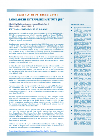 BEI Weekly News Highlights: Brief Highlights on Current Issues of South Asia, July 02, 2021-July 07, 2021