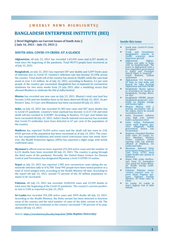 BEI Weekly News Highlights: Brief Highlights on Current Issues of South Asia, July 16, 2021-July 23, 2021