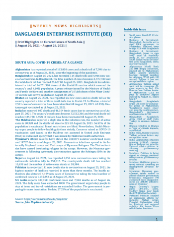 BEI Weekly News Highlights: Brief Highlights on Current Issues of South Asia, August 20, 2021-August 26, 2021