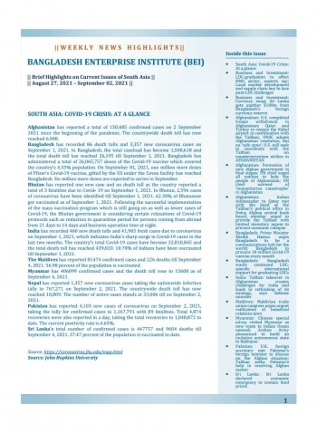 BEI Weekly News Highlights: Brief Highlights on Current Issues of South Asia, August 27, 2021-September 02, 2021