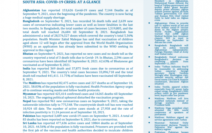 BEI Weekly News Highlights: Brief Highlights on Current Issues of South Asia, September 03, 2021-September 09, 2021