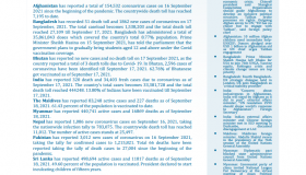BEI Weekly News Highlights: Brief Highlights on Current Issues of South Asia, September 10, 2021-September 16, 2021