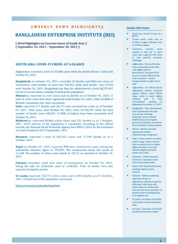 BEI Weekly News Highlights: Brief Highlights on Current Issues of South Asia, September 24, 2021-September 30, 2021